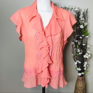 Allison Taylor Women's Coral Blouse Buttons Sz XL